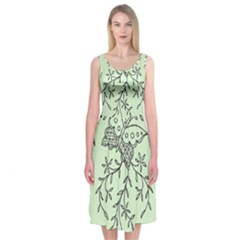 Illustration Of Butterflies And Flowers Ornament On Green Background Midi Sleeveless Dress