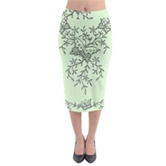 Illustration Of Butterflies And Flowers Ornament On Green Background Midi Pencil Skirt