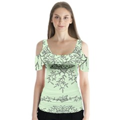 Illustration Of Butterflies And Flowers Ornament On Green Background Butterfly Sleeve Cutout Tee