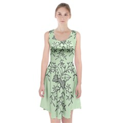 Illustration Of Butterflies And Flowers Ornament On Green Background Racerback Midi Dress