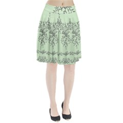 Illustration Of Butterflies And Flowers Ornament On Green Background Pleated Skirt