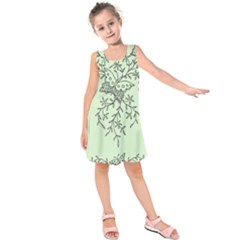 Illustration Of Butterflies And Flowers Ornament On Green Background Kids  Sleeveless Dress