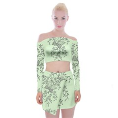 Illustration Of Butterflies And Flowers Ornament On Green Background Off Shoulder Top With Skirt Set