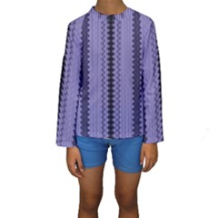Zig Zag Repeat Pattern Kids  Long Sleeve Swimwear