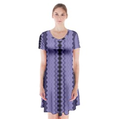 Zig Zag Repeat Pattern Short Sleeve V-neck Flare Dress