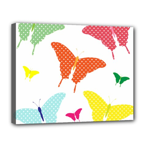 Beautiful Colorful Polka Dot Butterflies Clipart Canvas 14  X 11