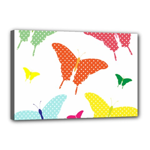 Beautiful Colorful Polka Dot Butterflies Clipart Canvas 18  X 12