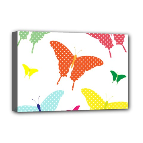 Beautiful Colorful Polka Dot Butterflies Clipart Deluxe Canvas 18  x 12