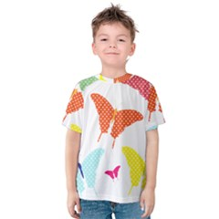 Beautiful Colorful Polka Dot Butterflies Clipart Kids  Cotton Tee