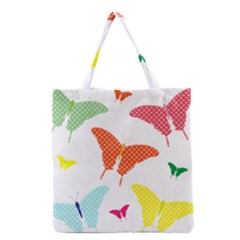 Beautiful Colorful Polka Dot Butterflies Clipart Grocery Tote Bag