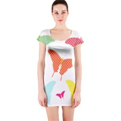 Beautiful Colorful Polka Dot Butterflies Clipart Short Sleeve Bodycon Dress