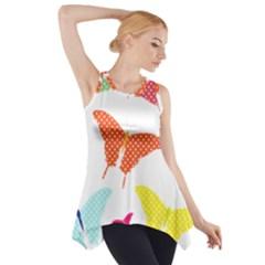 Beautiful Colorful Polka Dot Butterflies Clipart Side Drop Tank Tunic