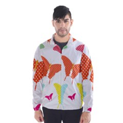 Beautiful Colorful Polka Dot Butterflies Clipart Wind Breaker (Men)