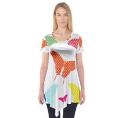 Beautiful Colorful Polka Dot Butterflies Clipart Short Sleeve Tunic