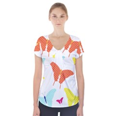 Beautiful Colorful Polka Dot Butterflies Clipart Short Sleeve Front Detail Top