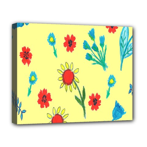 Flowers Fabric Design Deluxe Canvas 20  x 16