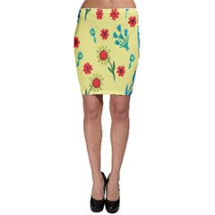 Flowers Fabric Design Bodycon Skirt
