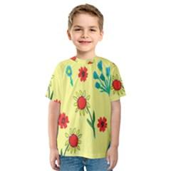 Flowers Fabric Design Kids  Sport Mesh Tee