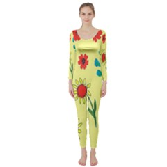 Flowers Fabric Design Long Sleeve Catsuit
