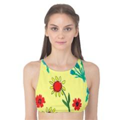 Flowers Fabric Design Tank Bikini Top