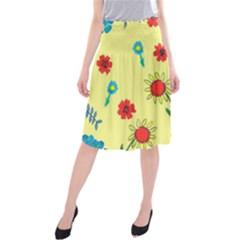 Flowers Fabric Design Midi Beach Skirt