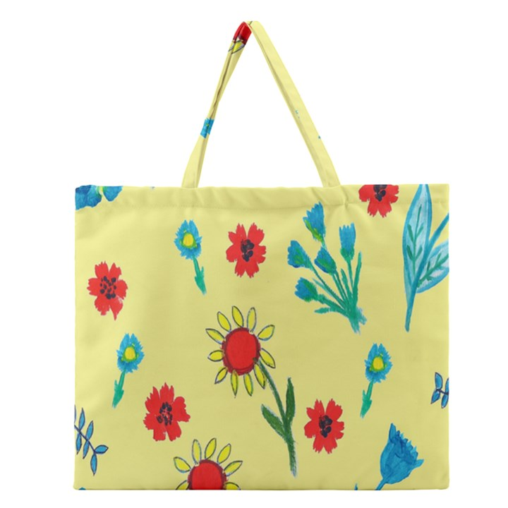 Flowers Fabric Design Zipper Large Tote Bag