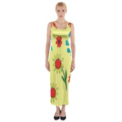 Flowers Fabric Design Fitted Maxi Dress