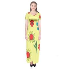Flowers Fabric Design Short Sleeve Maxi Dress