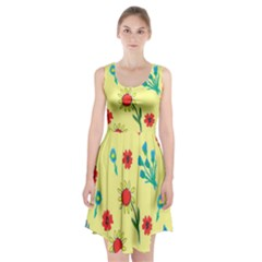 Flowers Fabric Design Racerback Midi Dress