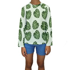 Leaf Pattern Seamless Background Kids  Long Sleeve Swimwear
