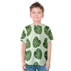 Leaf Pattern Seamless Background Kids  Cotton Tee