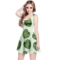 Leaf Pattern Seamless Background Reversible Sleeveless Dress