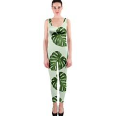 Leaf Pattern Seamless Background OnePiece Catsuit