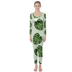 Leaf Pattern Seamless Background Long Sleeve Catsuit