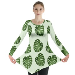 Leaf Pattern Seamless Background Long Sleeve Tunic