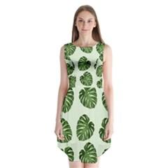Leaf Pattern Seamless Background Sleeveless Chiffon Dress
