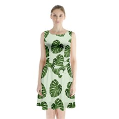 Leaf Pattern Seamless Background Sleeveless Waist Tie Chiffon Dress