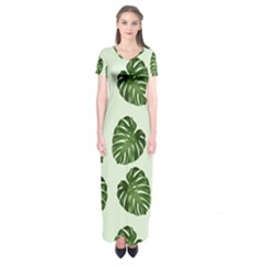 Leaf Pattern Seamless Background Short Sleeve Maxi Dress