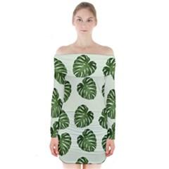 Leaf Pattern Seamless Background Long Sleeve Off Shoulder Dress