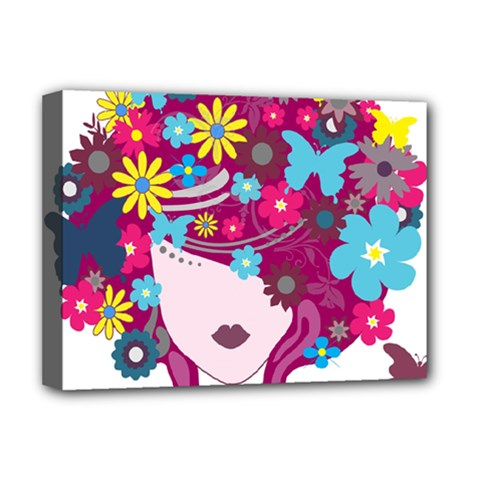 Beautiful Gothic Woman With Flowers And Butterflies Hair Clipart Deluxe Canvas 16  x 12