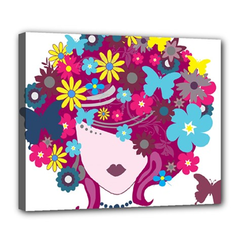 Beautiful Gothic Woman With Flowers And Butterflies Hair Clipart Deluxe Canvas 24  X 20