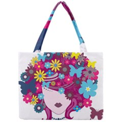 Beautiful Gothic Woman With Flowers And Butterflies Hair Clipart Mini Tote Bag
