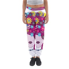 Beautiful Gothic Woman With Flowers And Butterflies Hair Clipart Women s Jogger Sweatpants