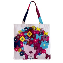 Beautiful Gothic Woman With Flowers And Butterflies Hair Clipart Zipper Grocery Tote Bag
