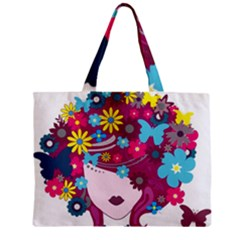 Beautiful Gothic Woman With Flowers And Butterflies Hair Clipart Zipper Mini Tote Bag