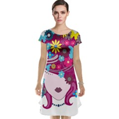 Beautiful Gothic Woman With Flowers And Butterflies Hair Clipart Cap Sleeve Nightdress