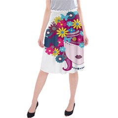 Beautiful Gothic Woman With Flowers And Butterflies Hair Clipart Midi Beach Skirt