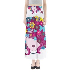 Beautiful Gothic Woman With Flowers And Butterflies Hair Clipart Full Length Maxi Skirt