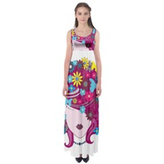 Beautiful Gothic Woman With Flowers And Butterflies Hair Clipart Empire Waist Maxi Dress