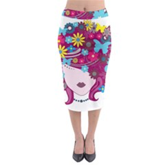 Beautiful Gothic Woman With Flowers And Butterflies Hair Clipart Midi Pencil Skirt